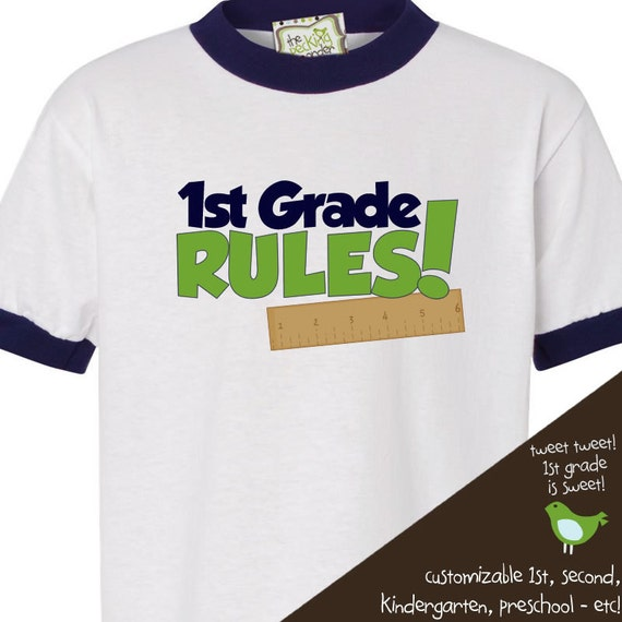 Back to school shirt - childrens first grade (or any grade) rules back to school ringer style Tshirt