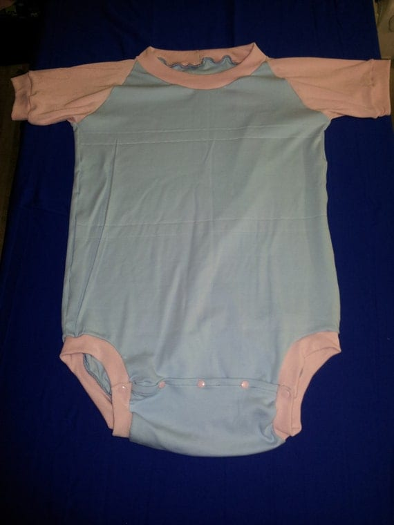Adult Onesie Baby Blue And Pink Size 44 Inches