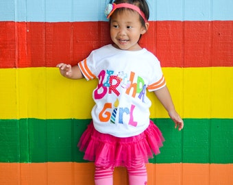 Rainbow Birthday Shirt, Girl Birthday Outfit, Birthday Girl Shirt, Made To Order