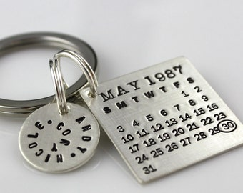Keychain - Mark Your Calendar Keychain hand stamped and personalized sterling silver key chain with NAME CHARM