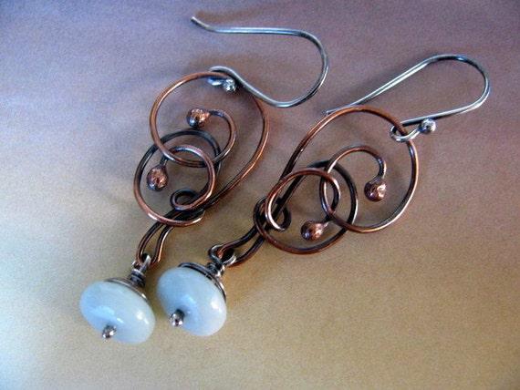 Handmade Wire Wrapped Aqua Blue Dangle Earrings, Mixed Metal Earrings Copper Sterling Silver