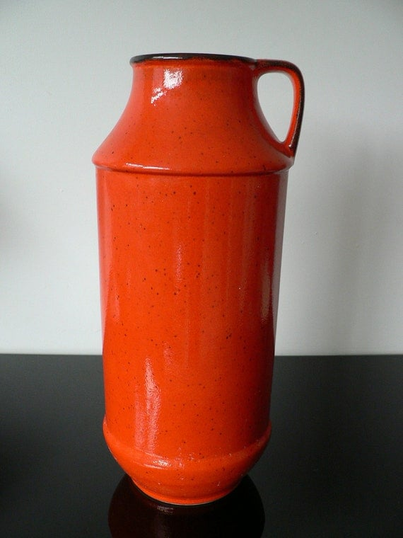 X Large West Germany 1960s Orange Lava Vase Retro Floor Vase