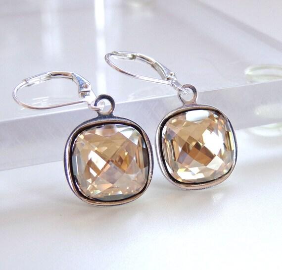 Golden Shadow Crystal Drop Earrings - Bridal - Bridesmaid Jewelry - Weddings