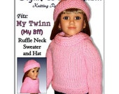 Doll clothes knitting pattern, fits My Twinn and 23 inch dolls. (my BFF) Hat, PDF, 604