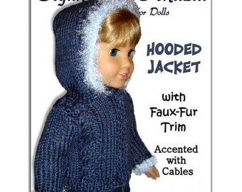 PDF 18 in. doll knitting pattern. Fits American Girl Doll. Hooded Jacket with Faux Fur Trim. 014