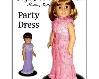 """Fits 18"""" including American Girl Doll. Party Dress knitting pattern. Instant Download 016"""