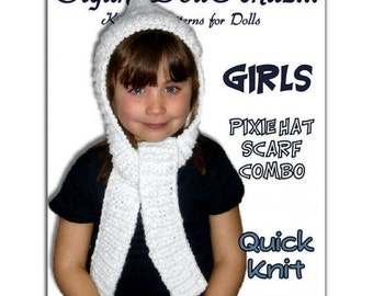Childrens Knitting Pattern. Pixie Hat, Scarf combo. PDF, Girls and Kids. Instant Download