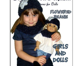 Knitting pattern. Matching Girl and Doll Beanie and Neck Warmer. 18 inch doll, Instant Download