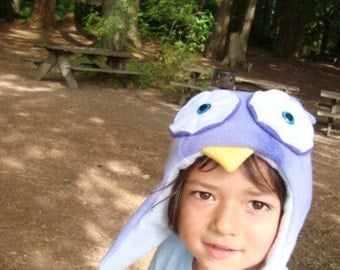 Purple Owl Hat with Earflaps adorable animal hat