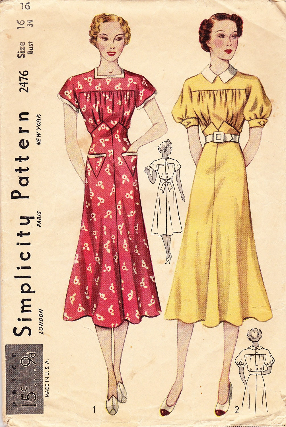 Vintage 1930's Women's Dress Pattern Simplicity 2476