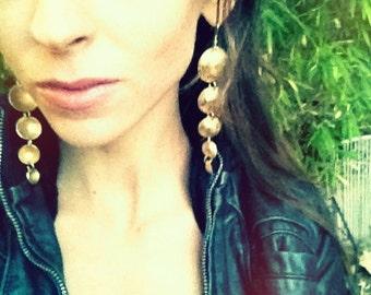 Long Earrings Brass Disc Earrings Shoulder Duster Earrings