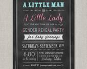 Little Man or Little Lady Gender Reveal Invitation