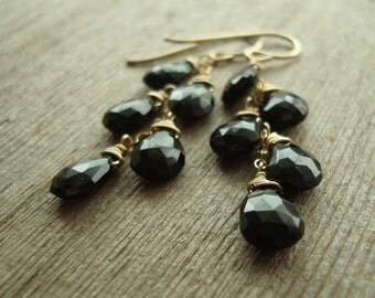 Black Garnet Mini Cascade Earrings, 14kt Goldfill
