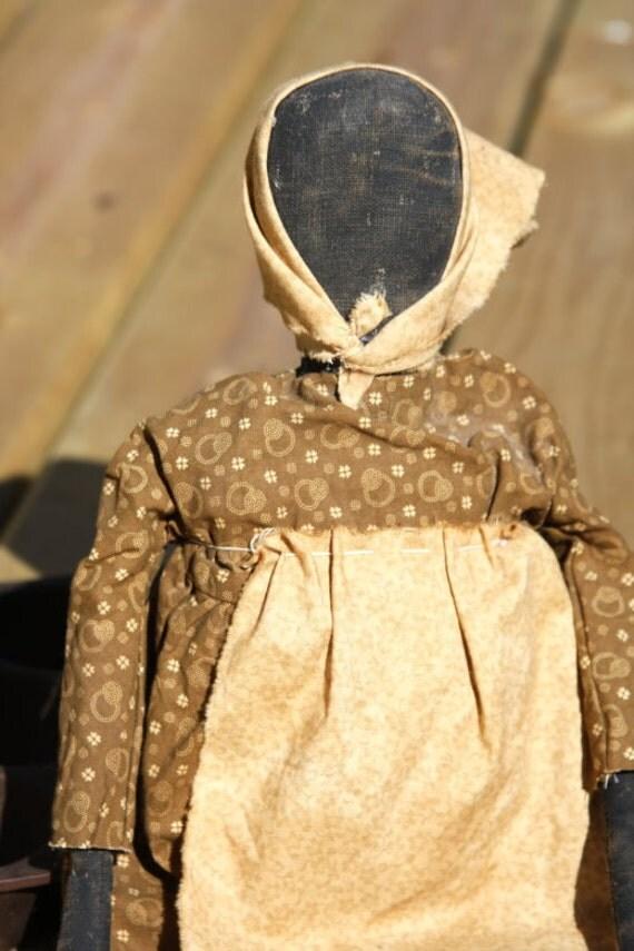 SALE Primitive Black Mammy Doll Folk Art Farmhouse Doll