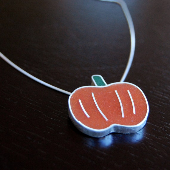 Silver Resin Pumpkin Necklace - Farmer's Market Series
