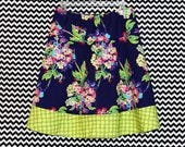 Purple Bouquet with Green Polka Dots A-Line Skirt, Amy Butler, Love, Floral Skirt, Womans  A-line Skirt Hip sizes 30-56 inches