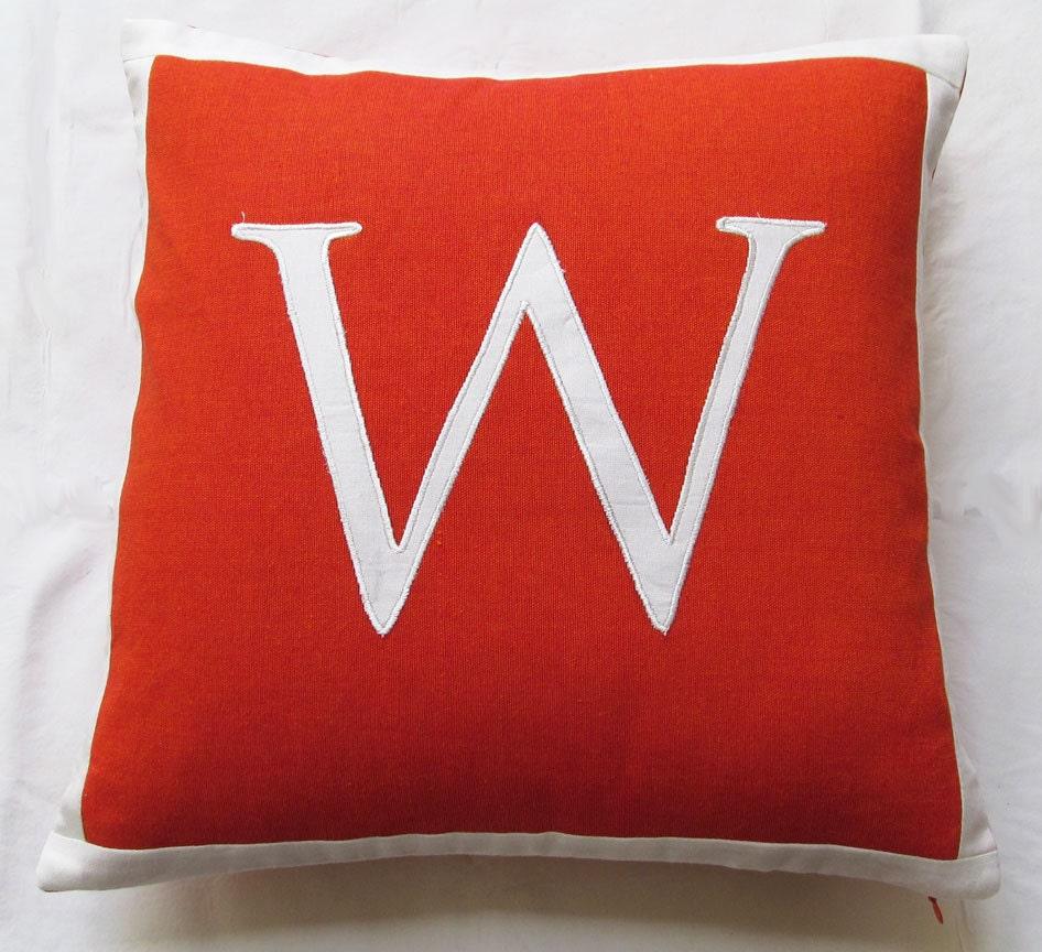 Dark Orange Decorative Pillows : dark orange and white initial letter alphabet pillow