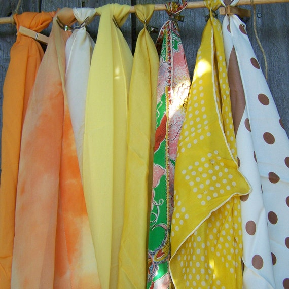 Collection of 8 Vintage Scarves, Citrus Grouping