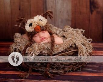 Fuzzy Owl Hat Newborn 3m 6m Fuzzy Brown Baby Photo Prop Crochet Boys Girls Super Soft Cute Perfect year round