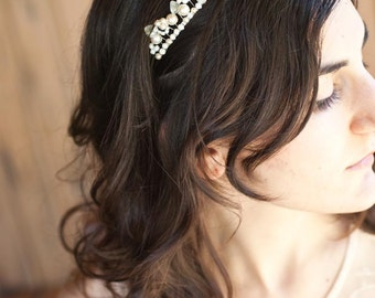 Bridal Headband Ivory Tiara with Pearls Wire Wrapped Headpiece for the Elegant Bride - Delicate Headband - Pearl Vine - White Wedding