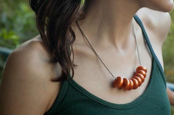 Bib Necklace - Orange Vintage Button Statement Necklace - Unique Gift - One-of-a-kind