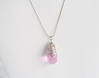 Pink Crystal Drop Pendant Necklace Vintage Silver Filigree Teardrop Pendant 925 Sterling Silver Italy Chain