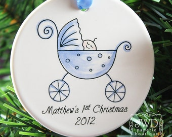 Baby's First Christmas Personalized Ornament Baby Boy Blue Carriage Personalized Ornament