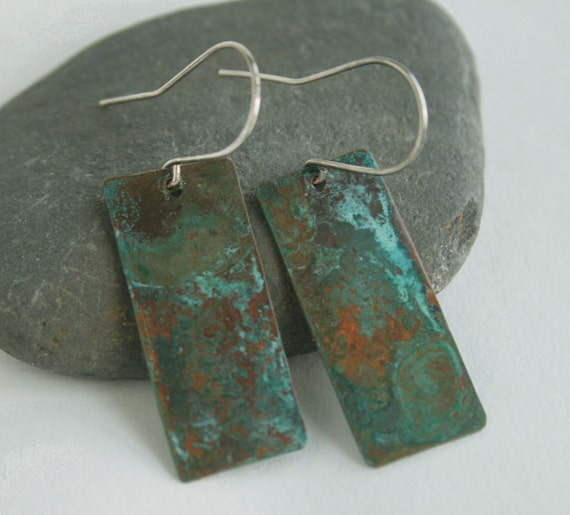 Patina copper and sterling silver earrings, teal, brown, green and turquoise