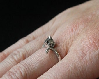 Kitty Cat Ring Silver Kitty Cat Ring cat Jewelry 162