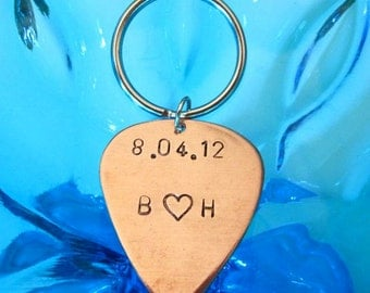 Date and Initials Guitar Pick Keychain