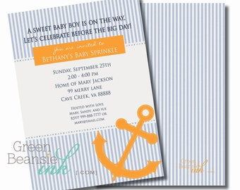 NAUTICAL SEERSUCKER Printable Party Invitation - Blue and Orange Printing Available