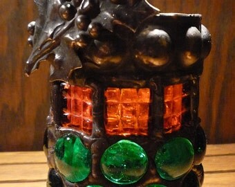 Victorian Gothic Mosaic Christmas Luminaire Candle Holder - Holly Leaves Red and Green Stained Glass