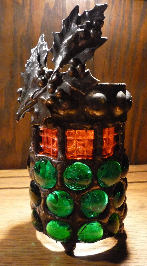 Victorian Gothic Christmas Candle Holder - Holly Leaves Red and Green ...