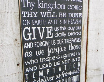The Lord's Prayer - Typography wood sign