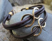 Infinity for Two - Two Brown Leather Infinity Bracelets with Brass Infinity & Hook Clasps (FREE US SHIPPING)