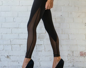 Mesh V-Panel High Waisted Leggings Hand Made