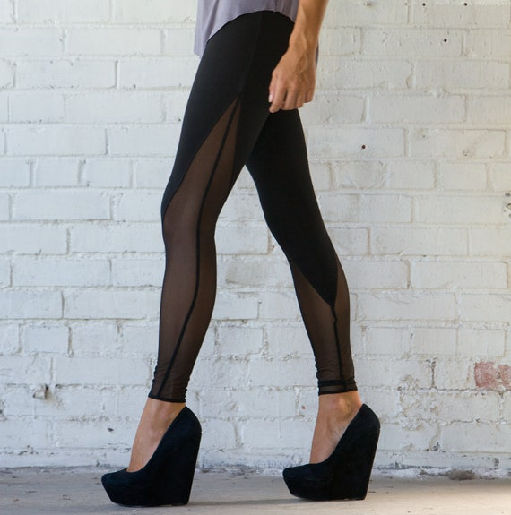 Items similar to Mesh V-Panel High Waisted Leggings Hand Made on Etsy
