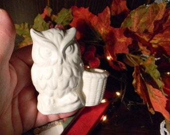 White Ceramic  Owl Tooth Pick Holder from vintage mold  or  pen holder desk decor