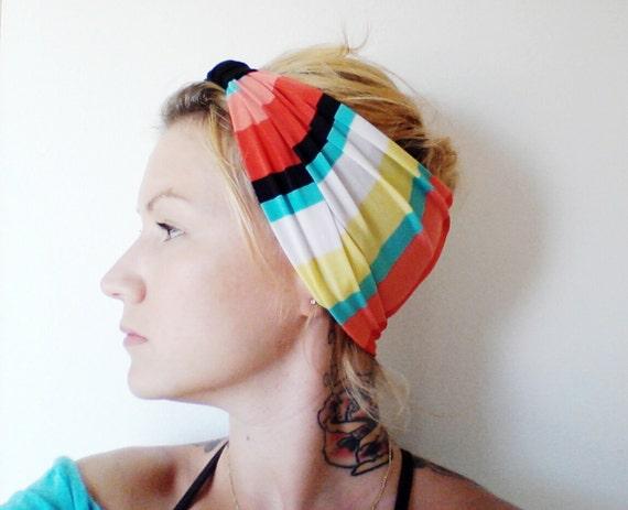 Turban Headband, Aqua, Coral and Yellow Stripe, Turban, Yoga Headband, Boho Fashion