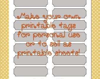 Printable Tags Template 0021 - 1 in. by 3.5 in. - DIY Digital Template in Photoshop Format - Commercial Use OK - Instant Download