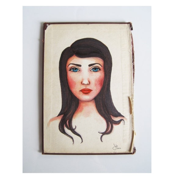 Original Portrait Painting Illustration of a girl with black hair and blue eyes on vintage book cover