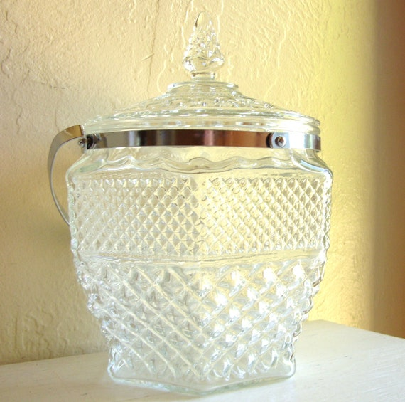 Large Cut Glass Ice Bucket Jar with Lid and Silver Handle