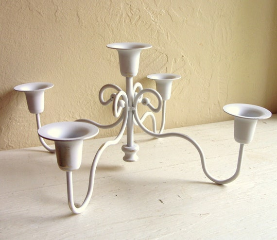 Shabby Chic White Curvy Candelabra Centerpiece for 5 Candles