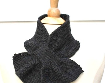 Knit dark gray scarf - knitted keyhole scarf - gray neckwarmer - small scarflette - knit ascot - gift for her - womens scarf - unique scarf