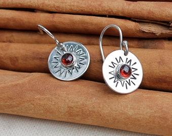 You are my Sunshine silver earrings. Garnet. Red. Sun. hand stamped. sterling silver sun earrings. OOAK. Gift