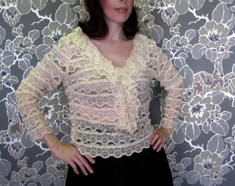 1960s Cream Lace Blouse with Ruffles