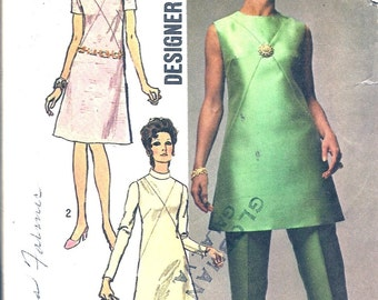 Vintage Sewing Patterns -1960s Dress Pattern - 60s A Line Dress -Tunic - Pants - Simplicity 9062 - Designer Pattern - Mid Century