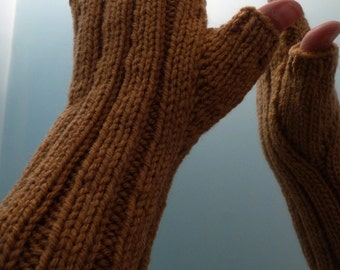 Hand Knitted Fingerless Gloves, Hand Warmers, Arm Warmers, Texting Gloves