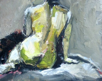 Giclee Print, Female Figure, Nude Figure, Nude Print, Olive Green, Wall Art Decor, Nude Painting, Green and Black, Free Shipping