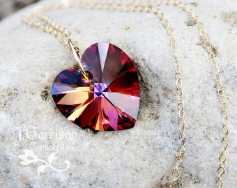 Volcano Heart Gold Necklace - fiery red, pink, gold & purple color changing Swarovski crystal on 14k gold filled chain, free shipping USA